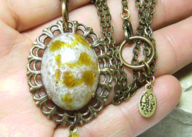 Victorian Jeweled Lemony Glass Art Jewelry - High Domed Cab Pendant Necklace