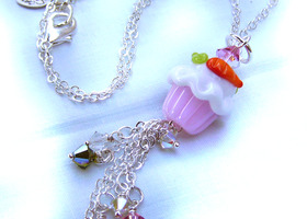 Easter Jewelry - Lampwork Glass Carrot-Cake Cupcake & Swarovski Crystal Dangle Pendant Necklace
