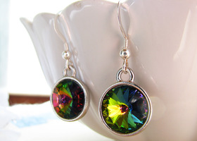 .925 stamped sterling and Swarovski Vitrail Med. Rivoli earrings