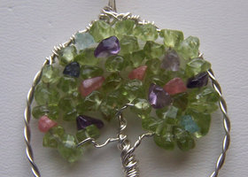 Sterling Silver and Peridot, Rhodochrosite, Aquamarine, Iolite, and Amethyst Tree of Life
