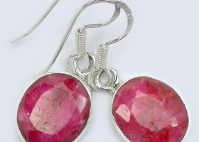 Genuine Ruby Earrings, Sterling Silver