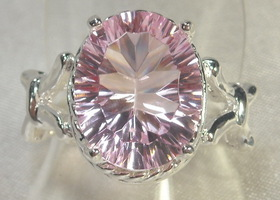 Beautiful Concave Cut Pink Topaz Ring