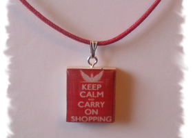Keep Calm & Carry On Shopping Scrabble TIle Pendant Necklace