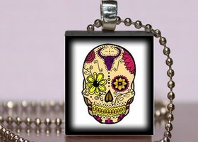 Sugar Skull Necklace - Day of the Dead scrabble tile pendant - Dia de los Muertos - LongHorn