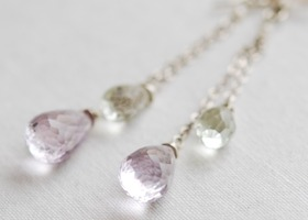 Amethyst tear drop briolette earrings with sterling silver