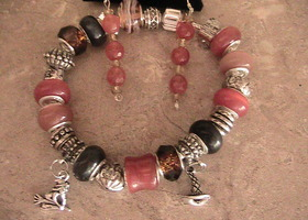 Halloween or fall bracelet and earrings