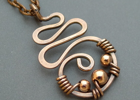 Oxidized Copper Squiggle Necklace