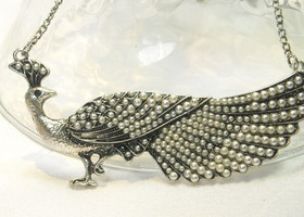 Stunning Seed Pearl Peacock Necklace