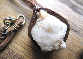 Geode Necklace White Quartz Necklace Leather Cord Necklace