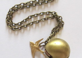 Brass Wrecking Ball Locket with Sparrow