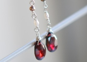 Garnet and Water Pearl dangle earrings with sterling silver