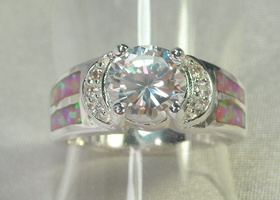 Gorgeous White Topaz and Pink Inlaid Opal Ring