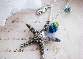 Starfish and seahorse Silver charm necklace