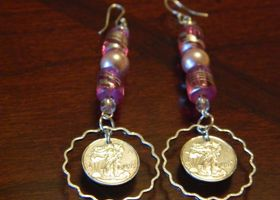.999 pure silver Walking Liberty Silver replica Earrings WITH Pink glass beads