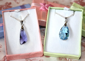 Swarovski Necklace Set of 2 - Tanzanite/Aquamarine
