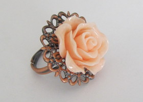 Antiqued Copper Pink Rose Ring