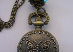 Butterfly Pocket Watch Necklace ~ Beautiful