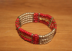 Red and gold bangle bracelet