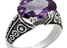 10CT Vintage Style Oval Cut Amethyst Ring sz 5-10