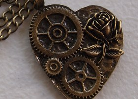 Steampunk Heart and Rose Necklace