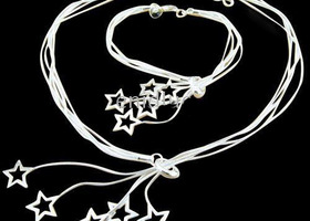 925 Sterling Heart Stars Necklace & Bracelets Set