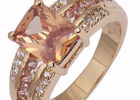 6CT 10K GF Emerald Cut Champagne Topaz Ring Sz 10