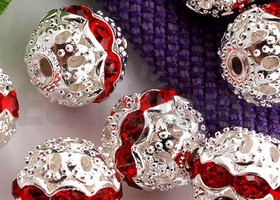 50 Red Rhinestone Silver Plated Spacers Beads Ball 10mm