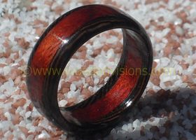 Handcrafted Exotic Wenge with Bloodwood inlay wooden ring