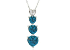 1.75 Carat London Blue Topaz & Genuine Diamond Accent Sterling Silver Heart Pendant