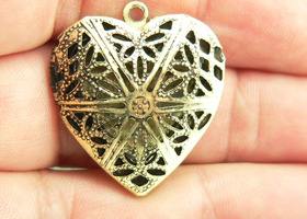 Lot of 8 Antique Bronze Heart Lockets