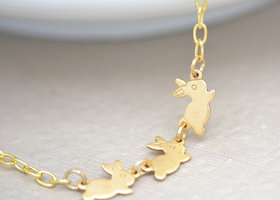 Three Little Bunnies Gold Necklace