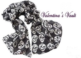 Stylishly Spooky Black Skull Scarf and....