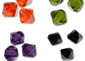 250 Halloween Mix 4mm Bicone Crystals