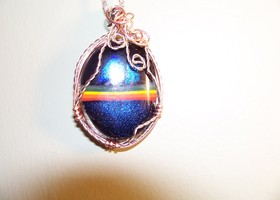 Wire wrapped blue striped pendant