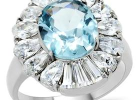 Elegant London Blue Aquamarine Royal Cut CZ  Ring