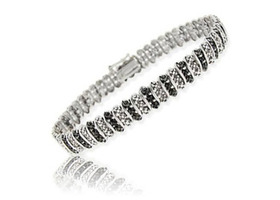 Black & White Genuine Diamond Tennis Bracelet .925