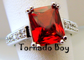 SZ9 Gorgeous New ruby 4CT w/ Topaz 10KT white Gold Filled Ring