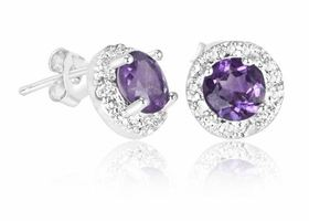 2CT Purple Amethyst/Genuine Diamond Accent SS Earrings