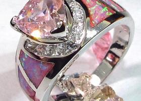 Gorgeous Pink Opal (purple) 925 Silver Ring SZ 6 7 8