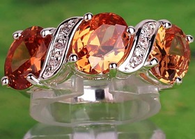 Oval stones Morganite & White topaz Gemstone Sz 7