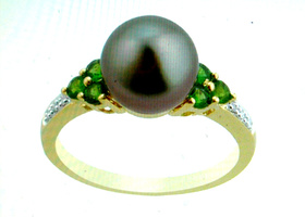 sz6 Tahitian Pearl (10-10.5mm),Diopside,Diamond Ring