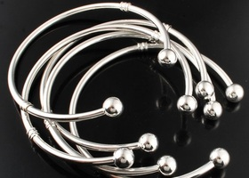 5pcs - European Silver Bangle Bracelet