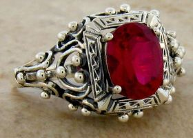 Victorian Ruby .925 Sterling Silver Ring 6,9,10