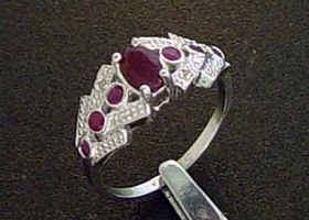 X Gorgeous Genuine Ruby & Diamond Ring ~7~
