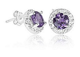 2 Carat Purple Amethyst &  Diamond Accent Earrings