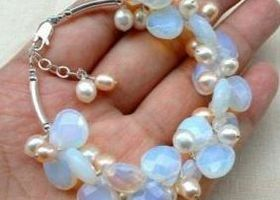 Genuine Natural Opal & Pearl Bracelet