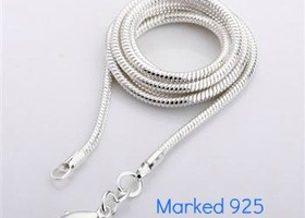 10 Silver Snake Chains, Choose Size- Marked 925
