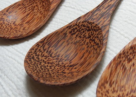 3 Hand Carved Condiment Spoons