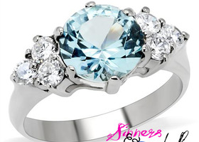 Sin City London Blue Topaz Stainless Ring SZ 5-10