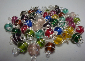 50 Glass 8mm wrapped spiral round Beads